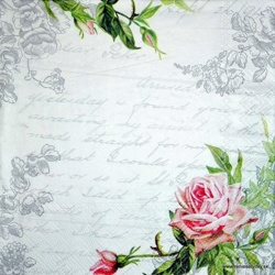 Napkin - Letter and Rose
