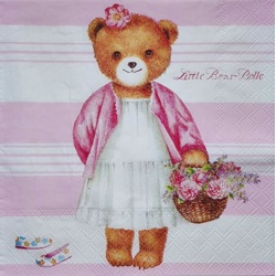 Serviette - Teddy pink