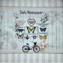 Napkin - Bicycle and butterflies