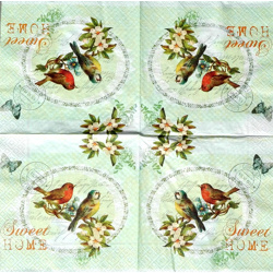 Serviette - Home sweet home Vogel