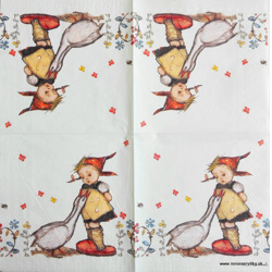 Napkin - Girl with Gooses