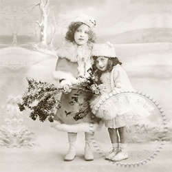 Serviette - 2 Girls Winter Christmas