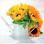 Napkin - Sunflowers in watering-can