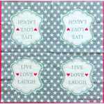 Serviette - Live, love, laugh