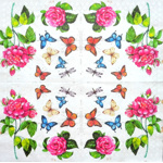 Napkin - Roses and Butterflies