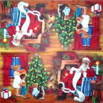 Napkin - Santa and Children