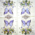 Napkin - Butterflies and violets - little