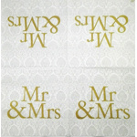 Napkin - Mr & Mrs - gold