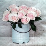 Napkin - Vintage Roses in Pail - little